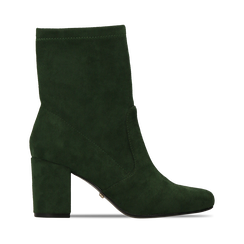 Ankle boots verdi in microfibra, tacco 7,5 cm , Stivaletti, 143072170MFVERD036, 001 preview