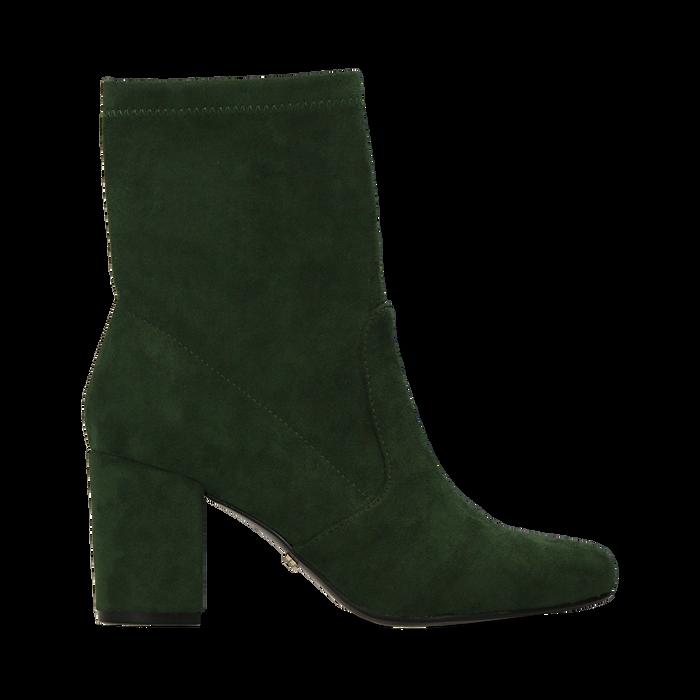 Ankle boots verdi in microfibra, tacco 7,5 cm , Stivaletti, 143072170MFVERD036
