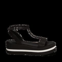 Sandali platform neri in eco-pelle, zeppa 5 cm , Primadonna, 132147513EPNERO035, 001a