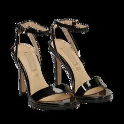 Sandali neri in vernice, tacco stiletto 11 cm, Scarpe, 132127401VENERO035, 002a