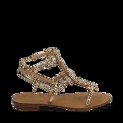 Sandali gioiello oro in eco-pelle laminata, Chaussures, 154921933LMOROG038, 001a