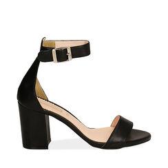 Sandali neri in pelle di vitello, tacco 8,5 cm, Primadonna, 15D600501VINERO037, 001a