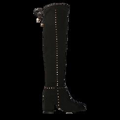 Stivali sopra il ginocchio neri mini-borchie oro, tacco 7,5 cm, Primadonna, 122181620MFNERO036, 001a