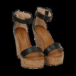 Sandali neri, zeppa 12 cm, Scarpe, 154981001EPNERO, 002 preview