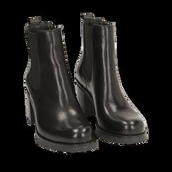 Chelsea boots neri in pelle, tacco 7,50 cm , Primadonna, 167734401PENERO035, 002a