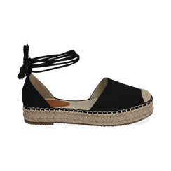 WOMEN SHOES ESPADRILLAS MICROFIBER NERO, Chaussures, 154930501MFNERO, 001 preview