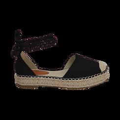 Espadrillas lace-up nere in microfibra, Primadonna, 154930501MFNERO035, 001 preview
