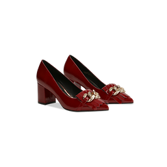 Mocassini décolleté bordeaux in vernice, tacco 6 cm, Scarpe, 122166912VEBORD, 002 preview