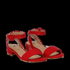 Sandali bassi rossi in microfibra, tacco 3,50 cm, Scarpe, 134819193MFROSS035, 002a