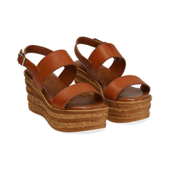 Sandali platform cuoio in eco-pelle, zeppa 8 cm ,