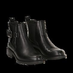 Chelsea boots neri in eco-pelle con cinturino, Stivaletti, 14A776160EPNERO035, 002a