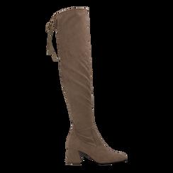 Stivali sopra il ginocchio taupe scamosciati con coulisse, tacco 6,5 cm, Scarpe, 122707128MFTAUP, 001 preview