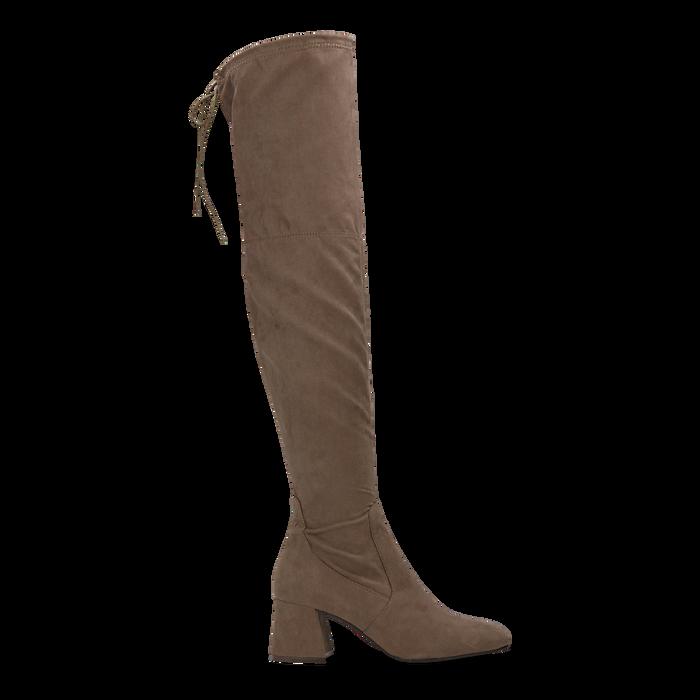 Stivali sopra il ginocchio taupe scamosciati con coulisse, tacco 6,5 cm, Scarpe, 122707128MFTAUP