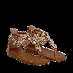 Sandali gioiello flat cuoio in raso , Primadonna, 133601507RSCUOI036, 002a