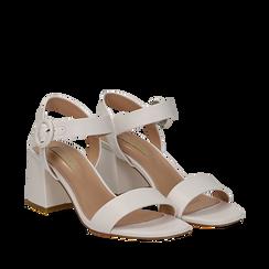 Sandali bianchi in eco-pelle, tacco trapezio 6 cm , Scarpe, 132707569EPBIAN036, 002a