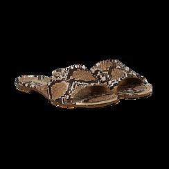 Mules flat beige in eco-pelle, effetto snake skin ,