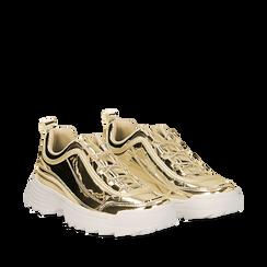 Dad shoes oro in vernice mirror con maxi-suola, Scarpe, 130101201SPOROG035, 002a