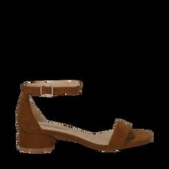 Sandali marroni in microfibra, tacco cilindrico 3,50 cm, Scarpe, 132133821MFMARR036, 001a