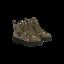 Sneakers verdi in velluto con stelle, Scarpe, 121617684VLVERD, 002 preview