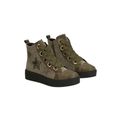 Sneakers verdi in velluto con stelle, Scarpe, 121617684VLVERD, 002