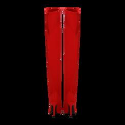 Stivali sopra il ginocchio rossi in lycra, tacco 10 cm, Scarpe, 122187852LYROSS, 003 preview