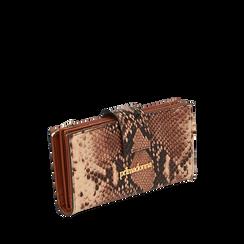 Portafogli marrone stampa pitone, Primadonna, 165122158PTMARRUNI, 002a