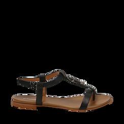 Sandali neri in eco-pelle, Primadonna, 13B915101EPNERO035, 001a