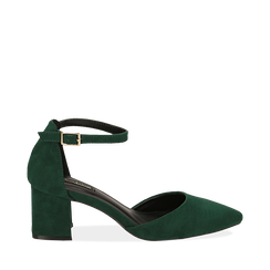 Décolleté verdi in microfibra con cinturino, tacco 6 cm , Scarpe, 144942231MFVERD035, 001a