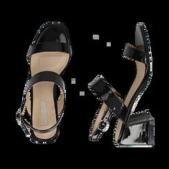 Sandali neri in vernice, tacco 6,50 cm, Primadonna, 152790111VENERO036, 003 preview