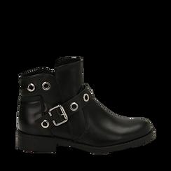 Biker boots neri in eco-pelle con oblò metallici, tacco 3 cm, Scarpe, 130619013EPNERO037, 001a
