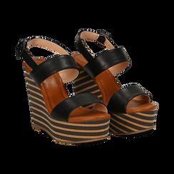 Sandali platform neri in eco-pelle, zeppa rigata 13 cm , Primadonna, 134986213EPNERO035, 002 preview
