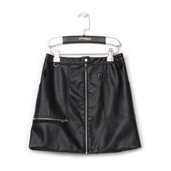 Minigonna nera in eco-pelle con zip, Saldi Estivi, 136501801EPNEROL, 001a