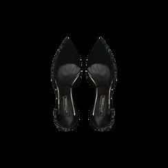 Décolleté nere con maxi cinturino, tacco 7,5 cm, Scarpe, 122166910MFNERO, 004 preview