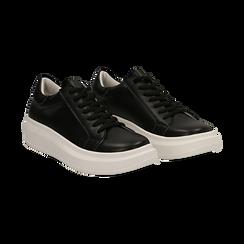 Sneakers nere in eco-pelle con suola flat, Scarpe, 132019051EPNERO036, 002 preview