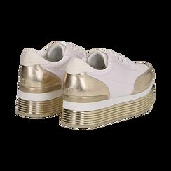 Sneakers bianche in eco-pelle con platform oro, Scarpe, 130751703EPBIOR037, 004 preview