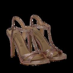 Sandalo rosa in laminato, tacco 10,50 cm, Sandali con tacco, 132127402LMROSA040, 002a