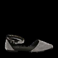Bailarinas con brillantes de microfibra en color negro, Zapatos, 154968041MPNERO036, 001a