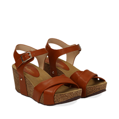 Sandali platform cuoio in eco-pelle, zeppa in sughero 7 cm , Saldi Estivi, 132141454EPCUOI035, 002a