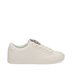 Sneakers bianche in eco-pelle con gemme scintillanti, Scarpe, 132619101EPBIAN035, 001a