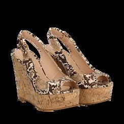 Sandali platform beige in eco-pelle, effetto snake skin, zeppa in sughero 12 cm , Scarpe, 134900982PTBEIG035, 002a