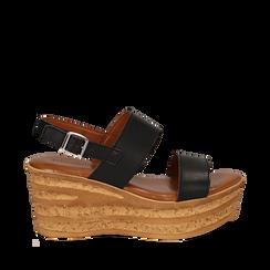Sandali platform neri in eco-pelle, zeppa 8 cm , Saldi Estivi, 13A133255EPNERO035, 001a