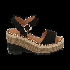 Sandali neri in microfibra, zeppa 9 cm , Scarpe, 154907131MFNERO035, 001 preview