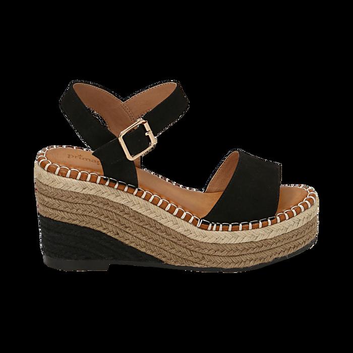 Sandali neri in microfibra, zeppa 9 cm , Scarpe, 154907131MFNERO035