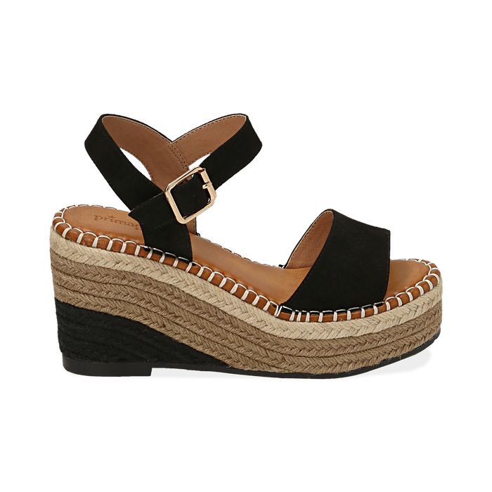 Sandali neri in microfibra, zeppa 9 cm , Chaussures, 154907131MFNERO