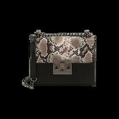 Borsa piccola bianco/nera stampa pitone, Primadonna, 165122371PTBINEUNI, 001 preview