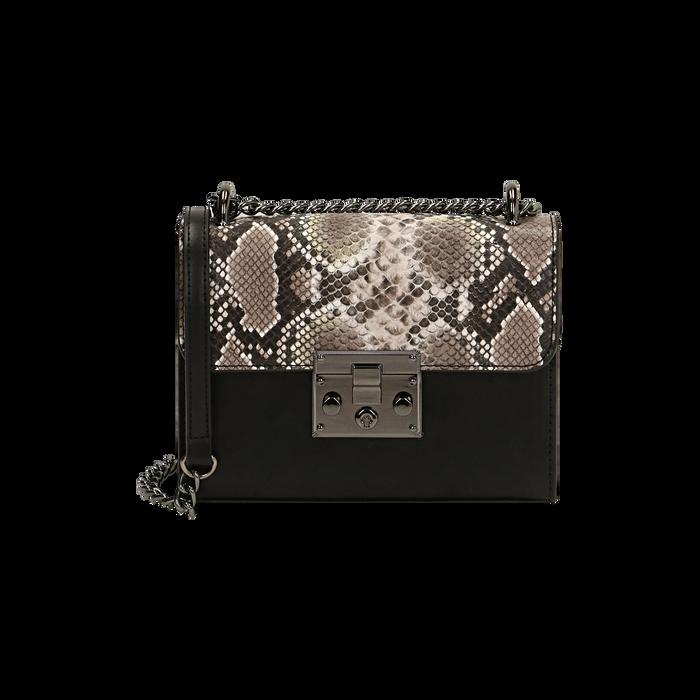 Borsa piccola bianco/nera stampa pitone, Primadonna, 165122371PTBINEUNI