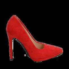 Décolleté rosse in microfibra con plateau, tacco 12 cm , Primadonna, 162106051MFROSS036, 001a