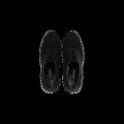 Francesine stringate scamosciate nere, tacco alto e plateau, Scarpe, 128403192MFNERO, 004 preview