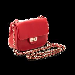 Borsa a tracolla rossa in ecopelle con apertura a girello, Saldi, 123308833EPROSSUNI, 003 preview