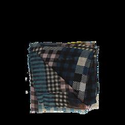 Pashmina marrone in tessuto stampa patchwork, Abbigliamento, 14B404027TSMARR3XL, 001a
